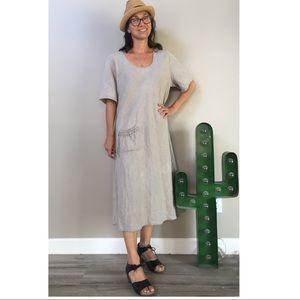 FLAX short sleeve scoop neck linen midi dress sz L